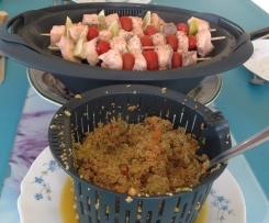 Brochettes de saumon tricolores