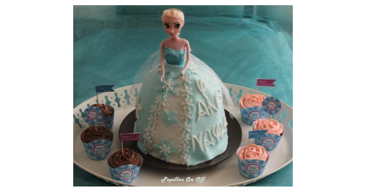 Gâteau Poupée Elsa Reine Des Neiges