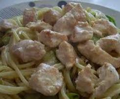 spaghettis et poulet crème courgettes