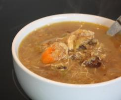 Soupe de poireaux et poulet en bouillon
