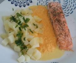 Pavés de saumon sauce crevette et ses pommes de terre vapeur