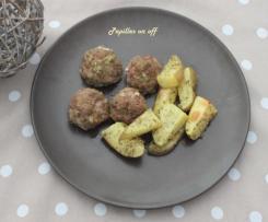 Boulettes d'agneau rôties et pommes de terre rustiques