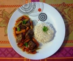 Sauté de porc aux légumes, sauce épicée