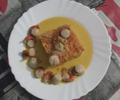Saint Jacques et carottes a la crème de coco