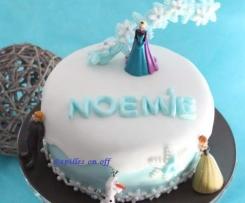 Gâteau gravity cake Reine des Neiges (gâteau marbré vanille/chocolat) – Sweet Table Anniversaire Reine des neiges