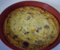 Flan oignons, lardons, champignons