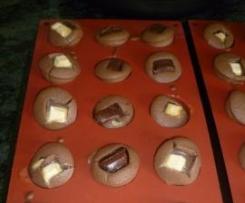Minis muffins au chocolat noir coeur blanc