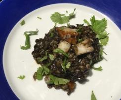risotto à l'encre de seiche chorizo et haddock