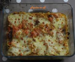 Gratin de pâtes à la courge, au boeuf et à la mozzarella