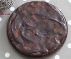 Moelleux chocolat et poires, glaçage chocolat