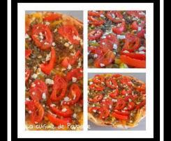 Tarte fine aubergines, tomates, poivrons