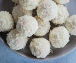 Boules de coco et chocolat blanc
