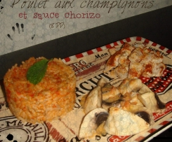 Poulet aux champignons, sauce chorizo