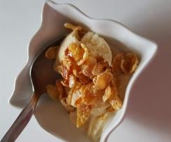 Glace à la vanille croustillante au caramel