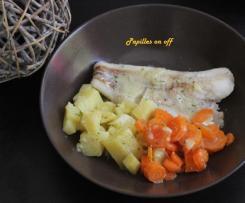 Cabillaud, carottes et pommes de terre au lait de coco