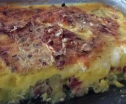 Clafoutis aux courgettes, lardons, chèvre et noisettes