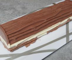 Bûche aux chocolats noir, blanc et Ferrero