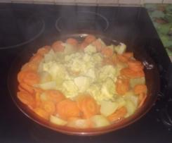 Sautés de porc aux pomme de terres et carotte vapeur