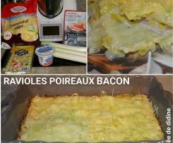 Gratin de Ravioles poireaux bacon