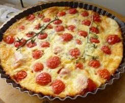 clafoutis aux tomates cerises,fromage fumé et thym