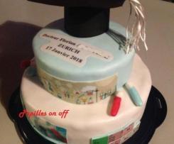 Gâteau doctorat chimie – Gâteau diplôme de fin d'études en pâte à sucre