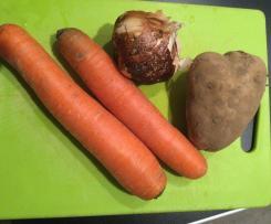 Soupe ail, carottes, pommes de terre