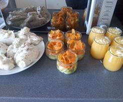 Roulés de dinde aux boursin, tagliatelles de légumes, soupe