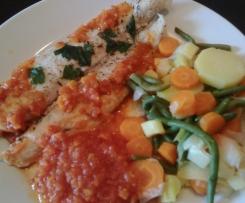 Filet de panga petits légumes sauce tomate