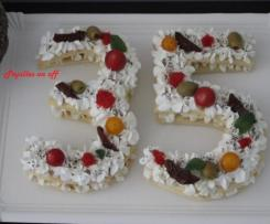 Number cake salé aux fromages (ou Letter cake)