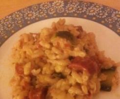 Risotto de coquillettes, tomates séchées, courgette & chorizo