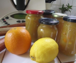 Confiture de rhubarbe-citron-orange