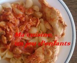 blancs de poulets sauce tomate aux champignons