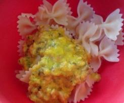 Sauce rapide courgettes/carottes/lardons pour accompagner des pâtes.