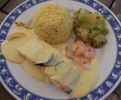 Saumon au vin blanc tagliatelles de courgettes et son riz