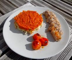 filet mignon à la compotée de tomates et fenouil, tomates-cerises rôties