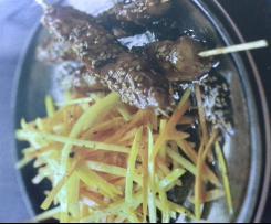 Brochettes  poulet  y a kit original au caramel de sésame