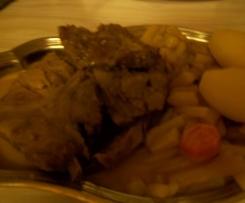 Côte de porc aux salsifis, champignons et sa sauce moutardée