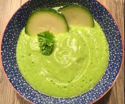 Soupe froide courgette, concombre et fromage frais