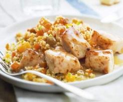 Filet de poulet curry, semoule aux légumes et sa sauce