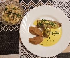 Ballotine d'Endive farcie aux champignons, chèvre et noix accompagné de purée et salade endive poire
