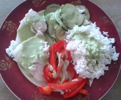 Poisson légumes/riz et sa sauce laitue/basilic/citron