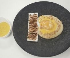 Oeuf parfait dans son nid de topinambour, accompagné de son omelette blanche et champignons, sabayon normand