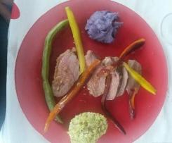 Magrets de canard vapeur et flans de légumes en couleurs