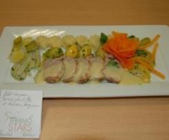 filet mignon, sauce poulette et les anciens légumes