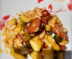 Pâtotto aux courgettes, tomates séchées et chorizo