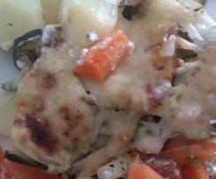 Gratin de légumes aux lardons