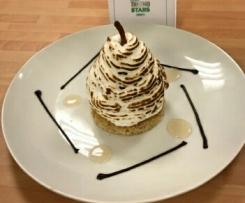 Poires pochées meringuées à la Badiane, Vanille et Cardamome au coeur de chocolat sur biscuit de blé noir - Thermostars