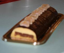 Bûche chocolat orange au cœur chocolat noisettes