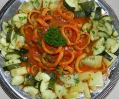 encornet à la tomate et ses légumes vapeur