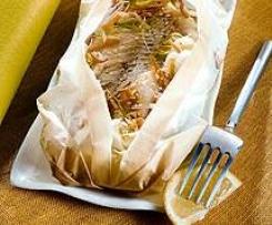 Papillotte de poisson au gingembre & sauce soja